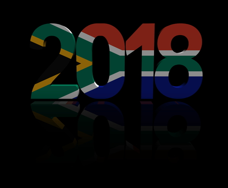 2018 text with South African flag 3d illustration