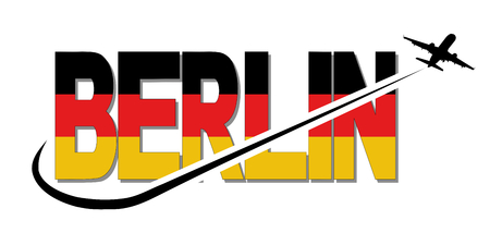 Berlin flag text with plane silhouette and swoosh illustration