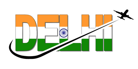 Delhi flag text with plane silhouette and swoosh illustration