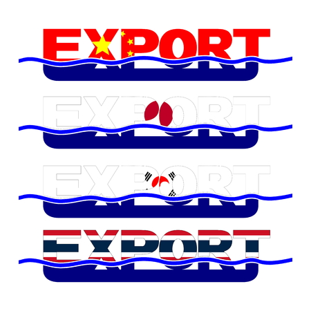 Export flag text with blue waves illustration Stock Illustration - 95799679