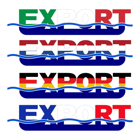 Export flag text with blue waves illustration