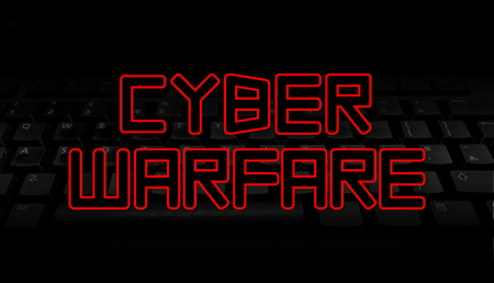 Cyber Warfare red text over black keyboard illustration 版權商用圖片