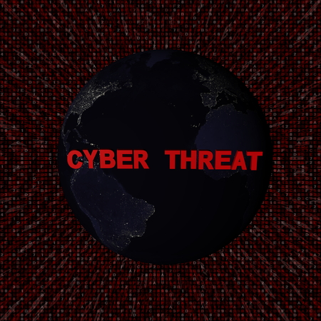 Cyber threat text with earth by night and red hex code illustration - elements of this image furnished by NASA 版權商用圖片
