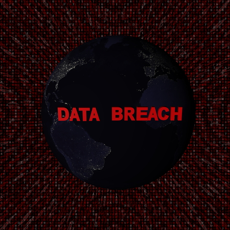 Data Breach text with earth by night and red hex code illustration - elements of this image furnished by NASA