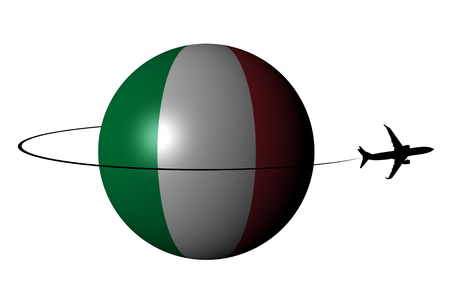 Italy flag sphere with plane silhouette and swoosh illustration Stock Photo