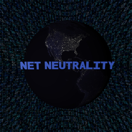 Net Neutrality text with earth by night and blue hex code illustration - elements of this image furnished by NASA