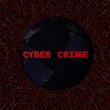 Cyber Crime text with earth by night and red hex code illustration - elements of this image furnished by NASA