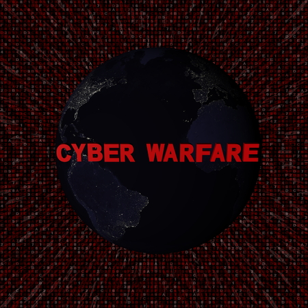 Cyber warfare text with earth by night and red hex code illustration