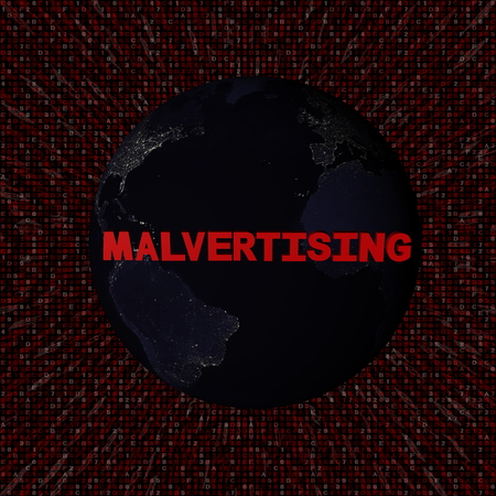 Malvertising text with earth by night and red hex code illustration