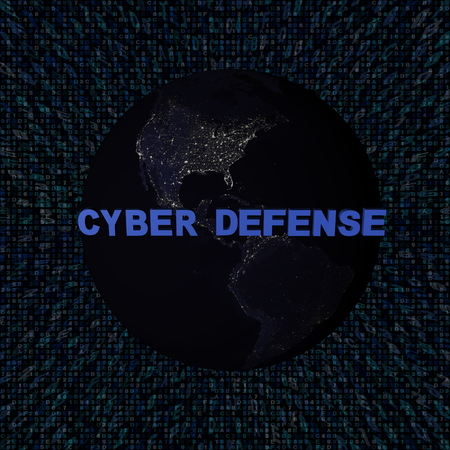 Cyber Defense text with earth by night and blue hex code illustration - elements of this image furnished by NASA