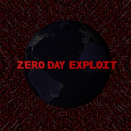 Zero Day Exploit text with earth by night and red hex code illustration - elements of this image furnished by NASA Stock Photo