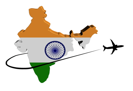 India map flag with plane silhouette and swoosh illustration