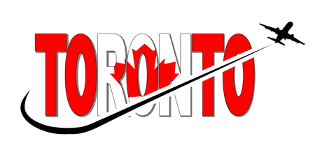Toronto flag text with plane silhouette and swoosh illustration
