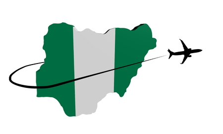 Nigeria map flag with plane silhouette and swoosh illustration
