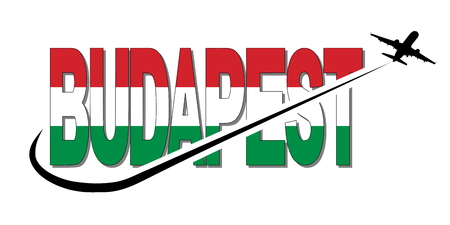 Budapest flag text with plane silhouette and swoosh illustration