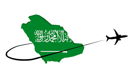 Saudi Arabia map flag with plane silhouette and swoosh 3d illustration Stock Photo