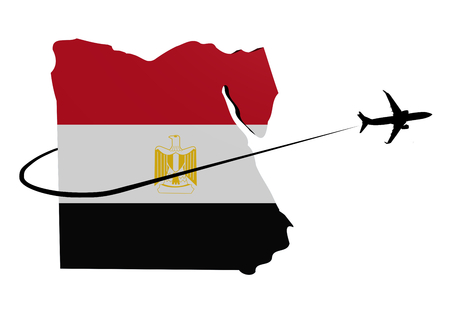 Egypt map flag with plane silhouette and swoosh 3d illustration Stock Photo
