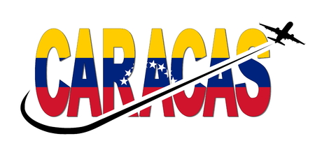 Caracas flag text with plane silhouette and swoosh illustration Stock Photo
