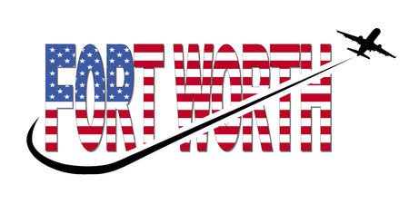 Fort Worth flag text with plane silhouette and swoosh illustration Stock Photo