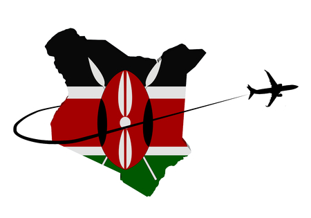 Kenya map flag with plane silhouette and swoosh 3d illustration