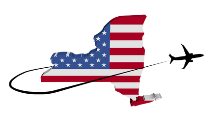 New York map flag with plane silhouette and swoosh 3d illustration Stock Photo