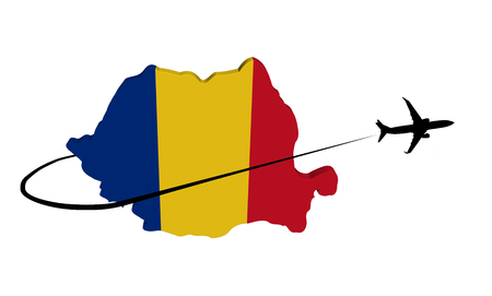 Romania map flag with plane silhouette and swoosh 3d illustration
