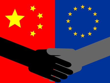 business handshake with chinese and European union flag illustration