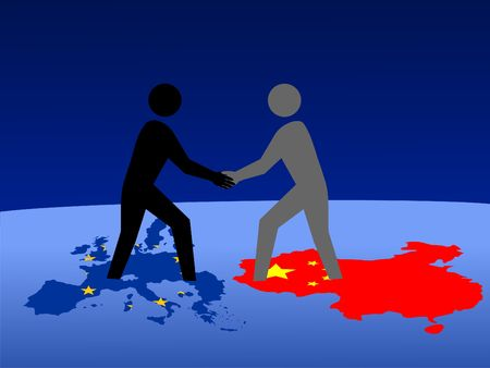European and Chinese business men meeting with handshake Editorial