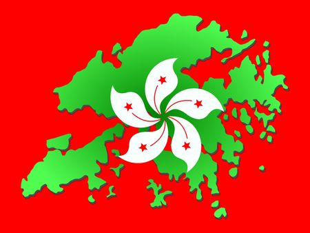 Map of Hong Kong and their flag illustration