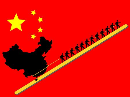 Workers pulling China upwards with Chinese flag Editöryel