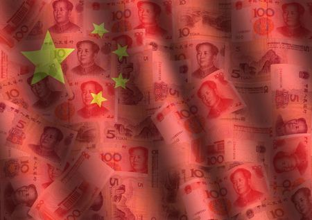 rippled Yuan and Chinese flag background illustration