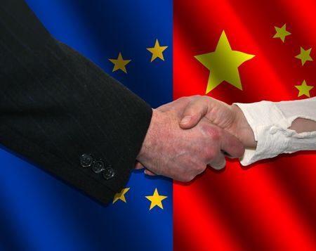 handshake over EU and Chinese flags illustration