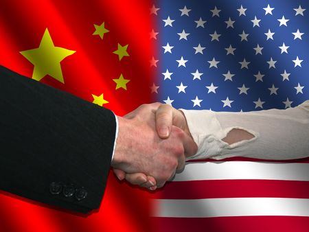 handshake over Chinese and American flags illustration