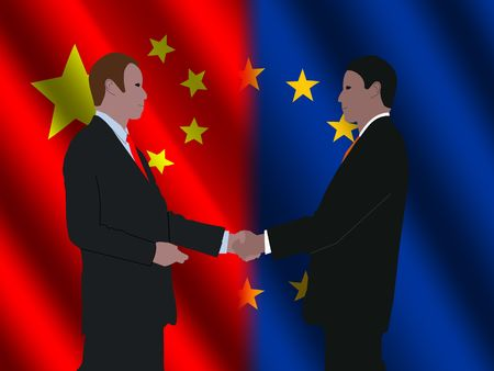 business men shaking hands over EU and Chinese flags illustration