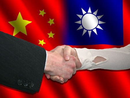 Handshake over Chinese and Taiwanese flags illustration Editorial
