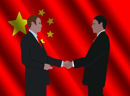 business men shaking hands with rippled Chinese flag illustration Editorial