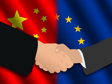 Handshake over Chinese and EU flags illustration Editorial