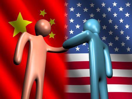 abstract people shaking hands with Chinese and American flag illustration