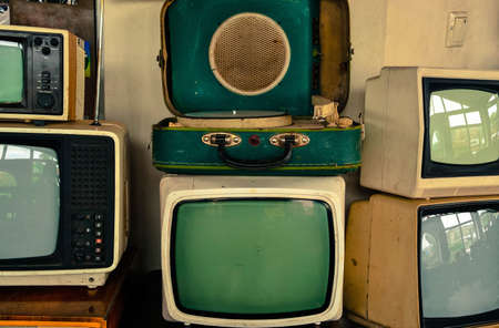 soviet: Soviet retro TVs and record-player Stock Photo