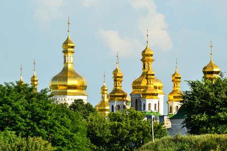 lavra: Golden domes of Kiev Pechersk Lavra churches Stock Photo