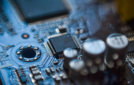 micro chip: Computer motherboard micro chip circuit close up Stock Photo