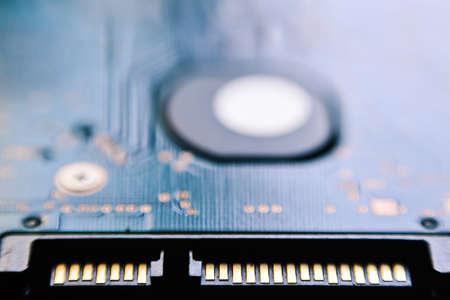 sata: Disc drive SATA interface connection close up