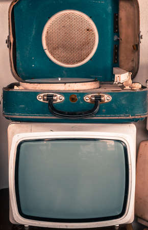 record player: Old vintage TV and portable record player