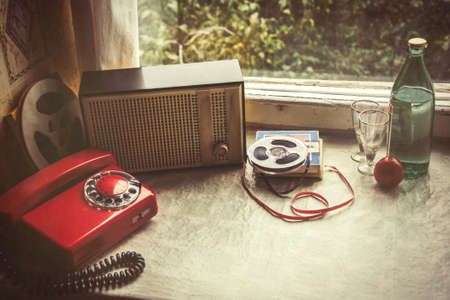 objets vintage sur windowsill. intérieur Retro