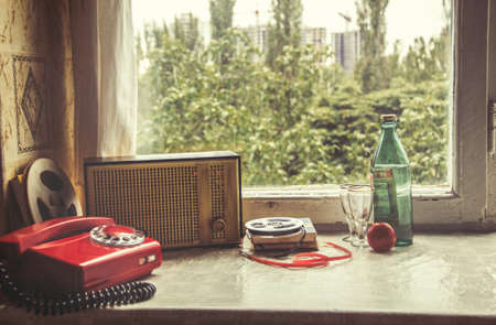 vintage objects: Vintage objects on windowsill. Retro interior