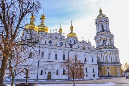Dormition Cathedral of Kiev Pechersk Lavra Monastery and Great Lavra Bell Tower in winter, Ukrainian baroque