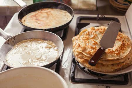 old gas stove: Making pancakes
