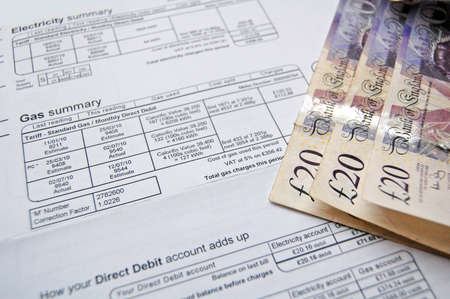 bill payment: energy bill and money for payment Stock Photo