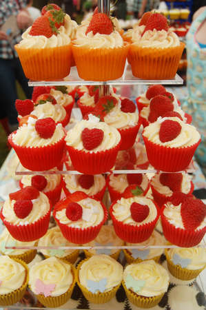 different styles of cupcakes on stand Stock Photo - 10042609