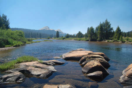 Tuolumne river in Tuolumne meadows in Yosemite National Park photo